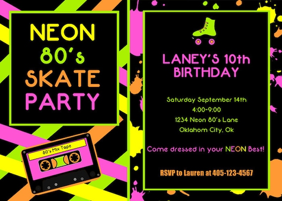 's party invitation  roller skate party  neon party, Party invitations