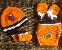 Cleveland Browns Inspired Infant Baby Crochet Gift Set