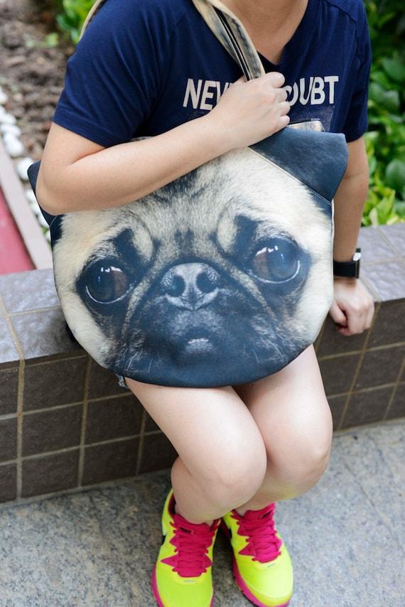 Pug, dog bag, dog purse, dog shoulder bag, dog tote bag, dog purse, pet bag, pet lover bag, animal bag, D020