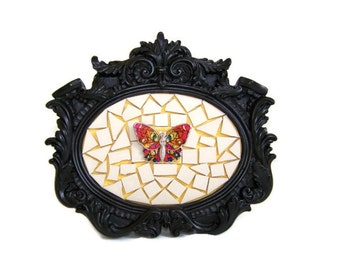Black Framed Butterfly Mosaic Picture