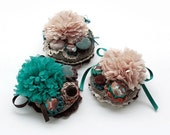 Fabric flower brooch, circle cluster pin, crochet, textile and fabric buttons jewelry - turquoise, brown, beige - OOAK