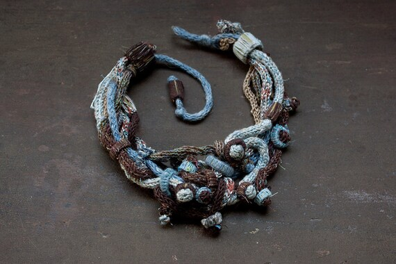 Blue brown knitted necklace with bamboo beads OOAK
