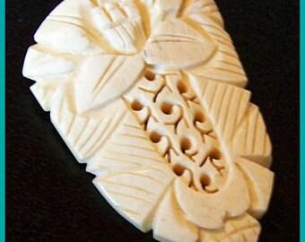 """Asian Ox Bone Fur Dress Clip Hand Carved Lotus Flower Design 2"""" Vintage"""