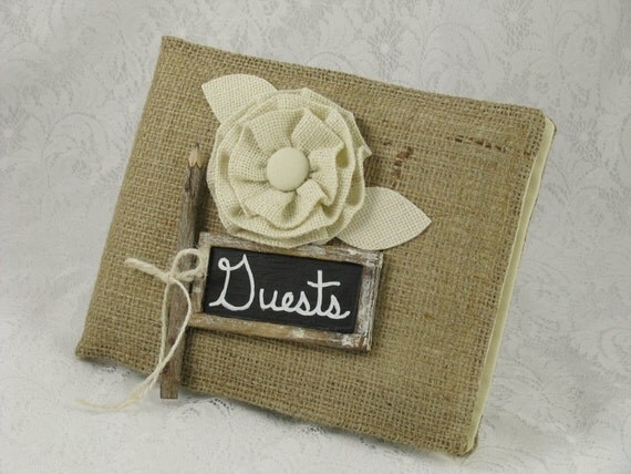 Rustic Wedding Guest Book- Burlap Weddings- Distressed Chalkboard/ Twig Pencil-Cottage Chic Guest Book- Vintage Wedding Guest Book