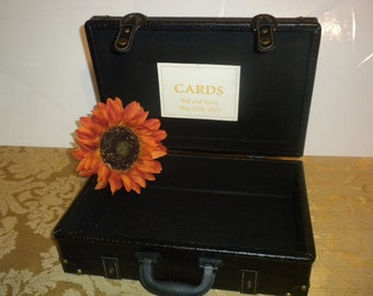 Vintage Inspired Large Suitcase Wedding Card Holder adorned in Fall Colors