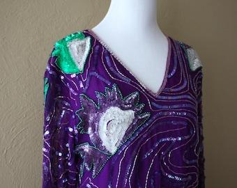 Vintage Embellished Silk Sequin Tunic