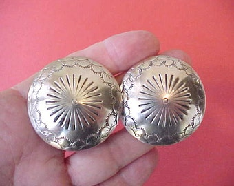 Super Handsome Large Vintage Navajo Concho Style Sterling Earrings by Jack Tom
