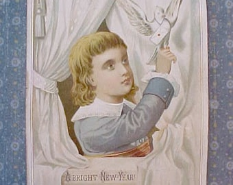 "Take My Message Gentle Dove"" Victorian New Year Message Scrap Card"