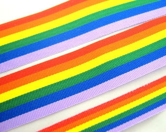 5m x Rainbow Pride Grosgrain Ribbon 10mm / 25mm / 35mm