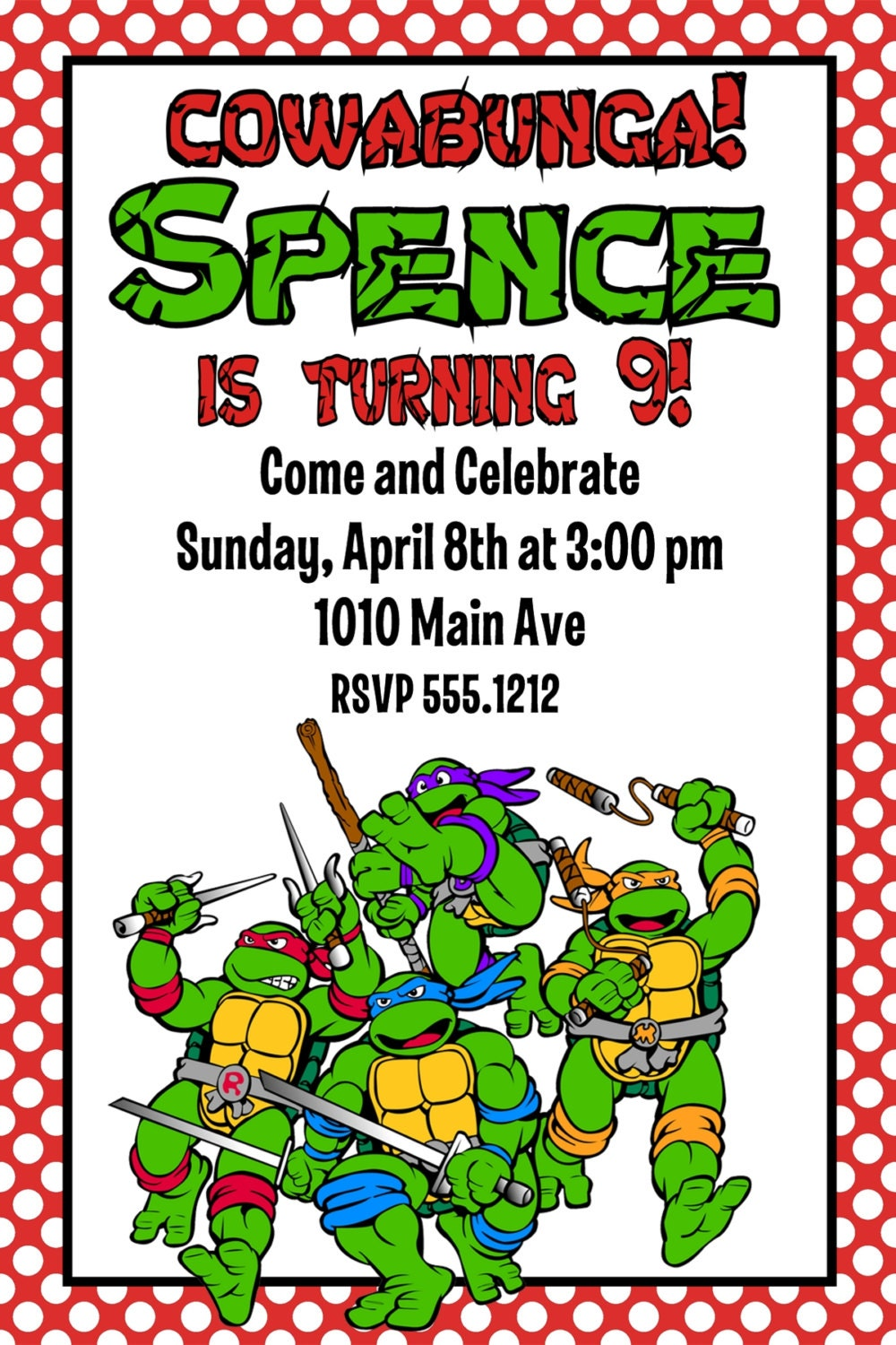 This is a picture of Légend Ninja Turtle Party Printables