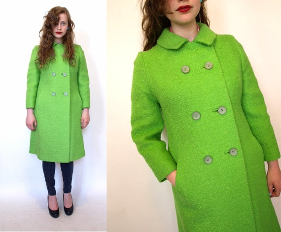 Vintage 60s mod Wool Boucle womens neon Green Pea Coat size S/M
