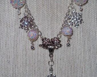 Snowflake Snowball Swarovski Crystal Necklace Stunning!