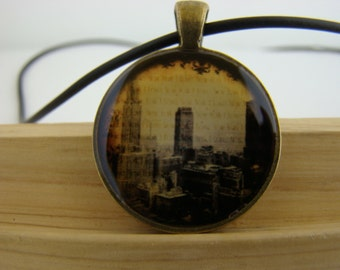 Resin Pendant, New York Skyline, Yellow, Beige, Brown, Unisex, Round, 1 inch