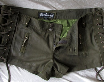 ON SALE!! Green leather steampunk shorts leather laceup shorts brass studs and detail