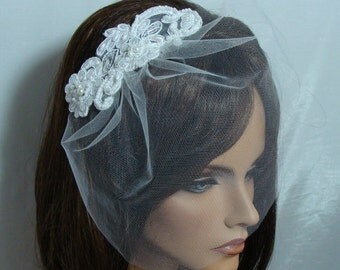 Bridal Tulle Birdcage Veil with Lace