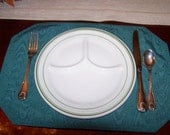 Set of 4 dishes by Wellsville china usa divided 9 1/2 inch plates c. 1950
