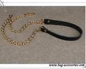 1piece 118CM Genuine leather handle with Metal Chain, 1.8CM width