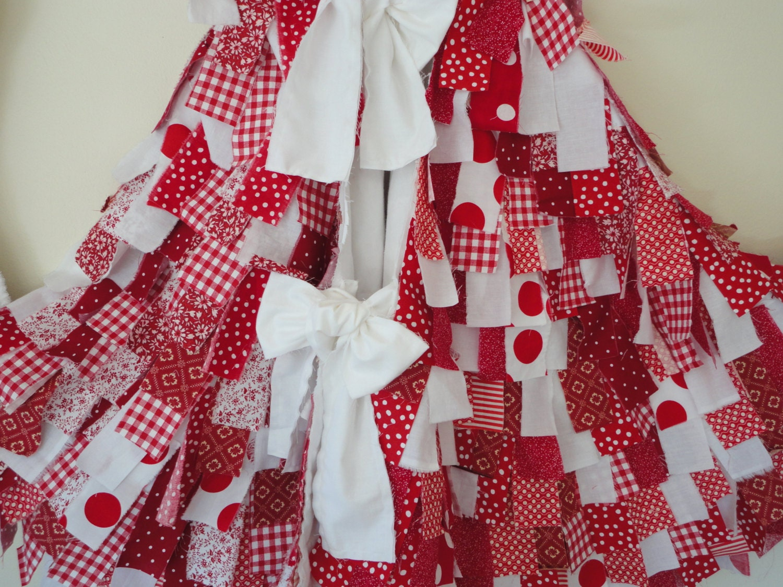 Christmas Tree Skirt Red & White Christmas Holiday By Snipitup