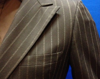 Early 60's double breasted brown 2 pc. suit with small beige pinstripes
