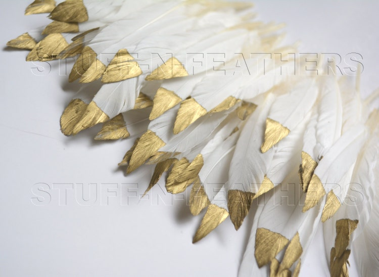 Bulk Wholesale Gold Dipped Natural White By Stuffnfeathers