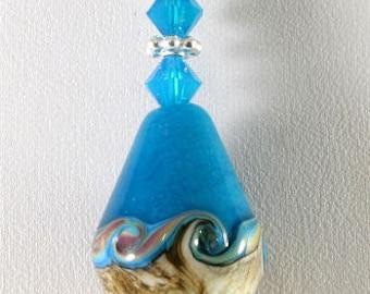 Ivory Turquoise Silver Handmade Glass Lampwork Pendant, SRAJD, DUST Team