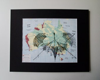 vintage one of a kind mounted map print - umbrella print on vintage map of australia 11 x 14""