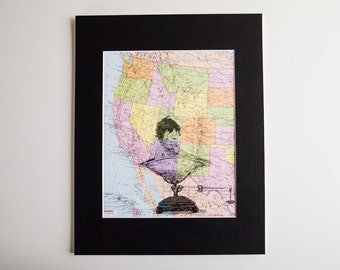 """Framed Digital Wall Art, Baby in Scales Print on Vintage Map of USA, 11 x 14"""""""
