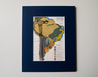 """Hammer on Vintage Original Map of South America - Ready to Frame, 8 x 10"""""""
