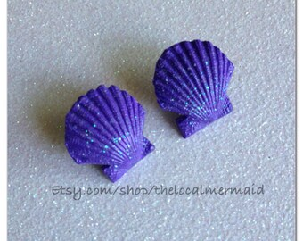 Light/ pastel purple scallop shell earrings / little mermaid cosplay / polymer clay shell