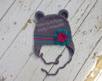 Blooming Bear Flower Hat - Crochet Pattern 16 - Newborn to Adult Sizes Included - INSTANT DOWNLOAD