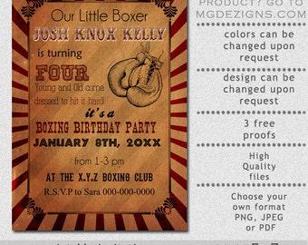 Printable Rustic Vintage Boxing Birthday Invitation