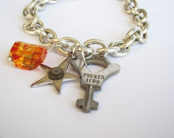 Steampunk Charm Bracelet - One Of A Kind, Old Key Bracelet