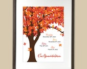 Family Tree for Grandparents / Parents - names and birth dates of grandchildren - personalized art print - birds - maple - gift