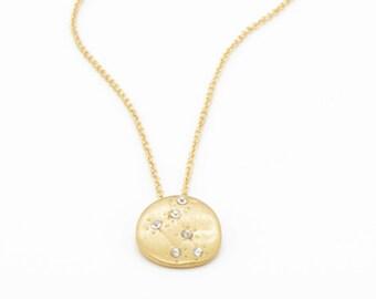 Hand Made LIBRA Zodiac Sign Constellation Necklace 18K Gold Plated Constellation Necklace Libra Star Sign Charm Zodiac Charm Small (N007)