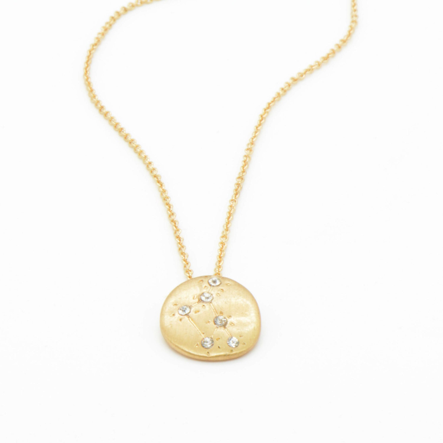 Hand Made LIBRA Zodiac Sign Constellation Necklace 18K Gold