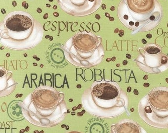 Robert Kaufman - Metro Cafe - Cup of Joe - Mint Green - Novelty Food Fabric-Choose Your Cut 1/2 or Full Yard
