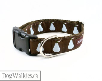 """Pears and Chocolate // 1"""" (25mm) Wide Dog Collar // Choice of style and size // Martingale Dog Collar or Quick Side Release // Brown // Blue"""