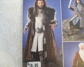 Mens Costume Sewing Pattern, Men's Medieval Tunic, Cloak, and Accessories Game of Thrones, The Hobbit, Simplicity 1552 sizes xs to xl uncut