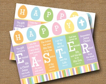 "Scripture Easter Card | Printable Easter Card | DIY PRINTABLE | ""Happy Easter"" Religious, Christian, Bible Verse Card 