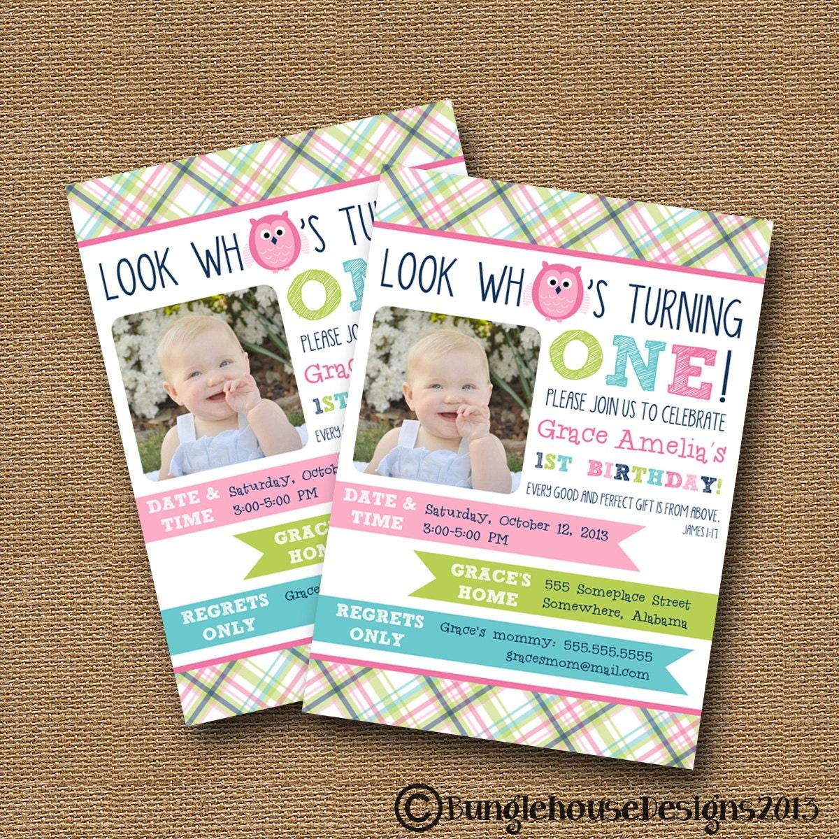 Owl Birthday Invitation Babys First Birthday Preppy – 1st Birthday Card Verses