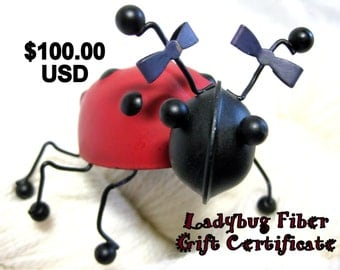 Ladybug Fiber Company Gift Certificate, 100 dollars USD