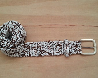 Crochet Satin Ribbon Belt with Buckle - Crochet Belt - Ribbon Belt - White - Brown - M-L - FREE UK delivery
