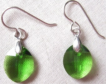 Fern Green Crystal Leaf Earrings with Sterling Silver Bails and Earwires