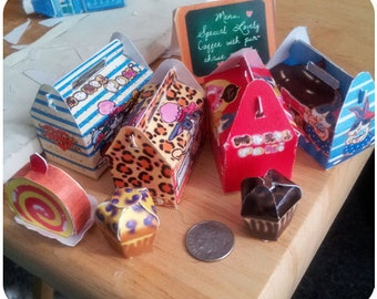 1/6 scale Printable Dollhouse miniature boxes  instant Download