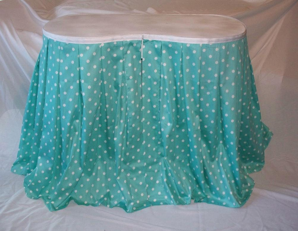 Vintage Kidney Shaped Vanity Table Matching Bench Aqua Polka