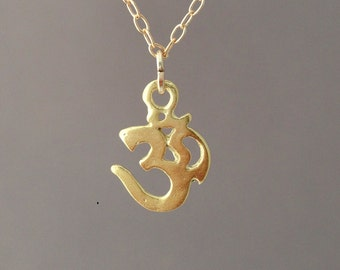 Gold Om Sign Necklace also available in silver