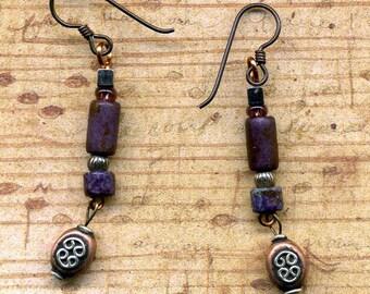 Copper and Raku Earrings