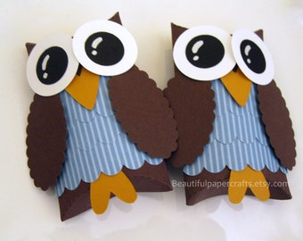 Brown and Blue Owl Favor Boxes - Owl Baby Shower Decorations -  Owl Birthday Party - Set of 12