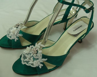 Wedding Emerald Green Shoes 2 1/2 inches heel with white or ivory appliqué, ankle strap, open toe,bridesmaids, MOB MOG,special occasion shoe