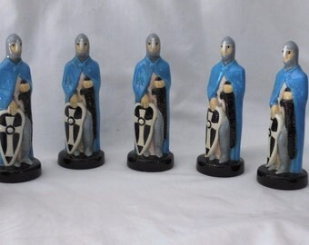 7 Blue Pawns Ceramic Chess Pieces Handmade Hand Painted
